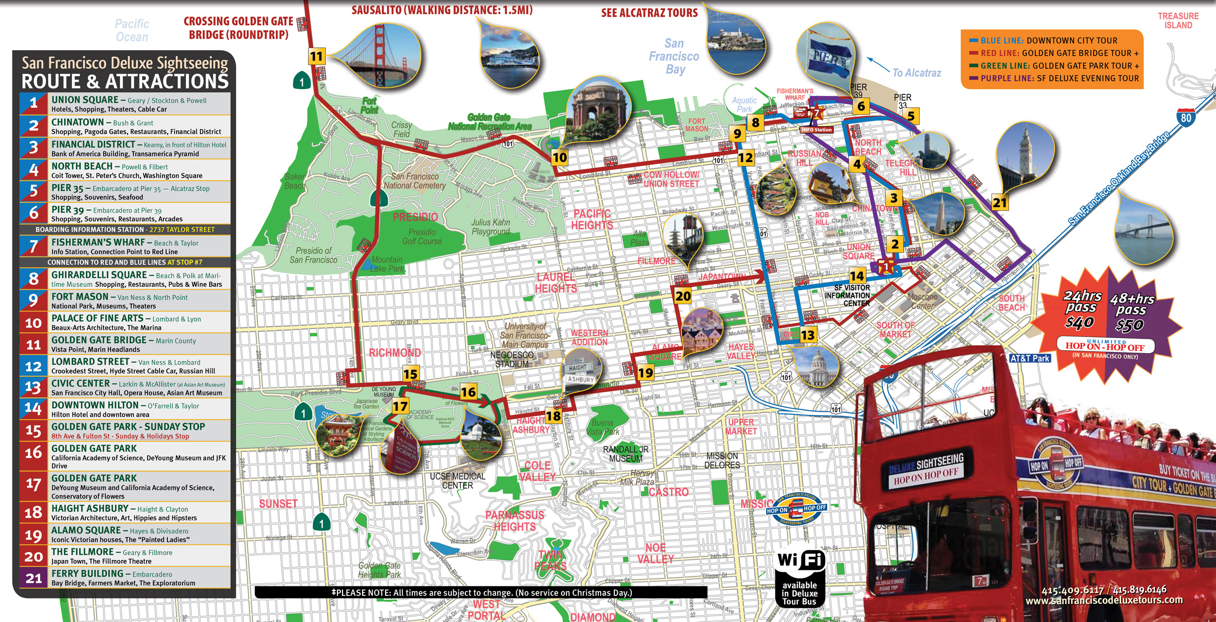 San Francisco Deluxe Sightseeing Tour Routes